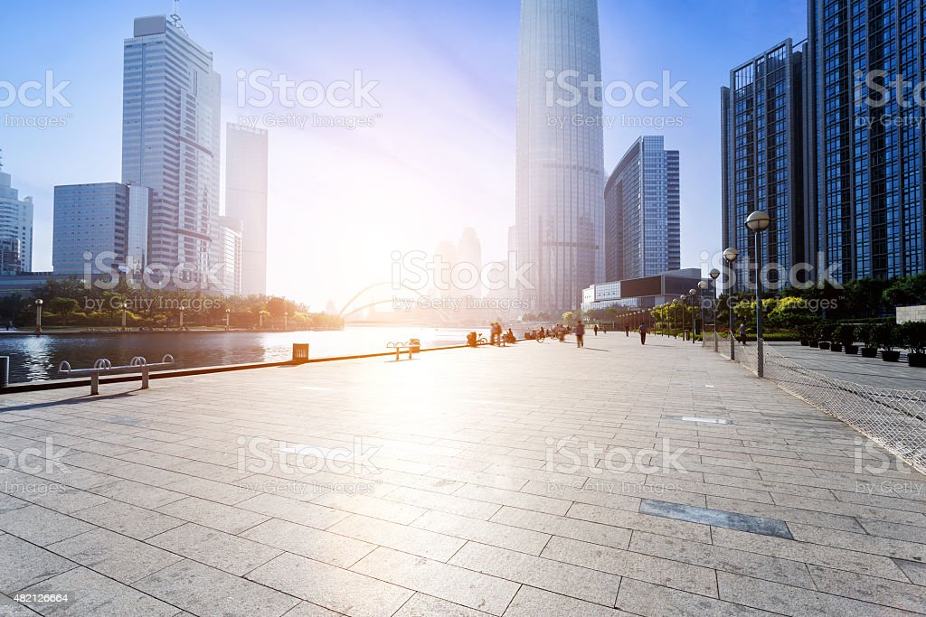 Modern skyline and empty road floor stock photo