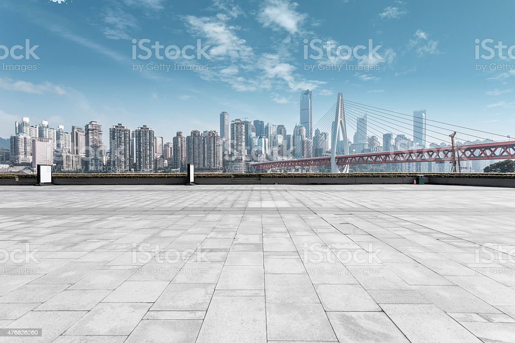 modern skyline and empty road stock photo