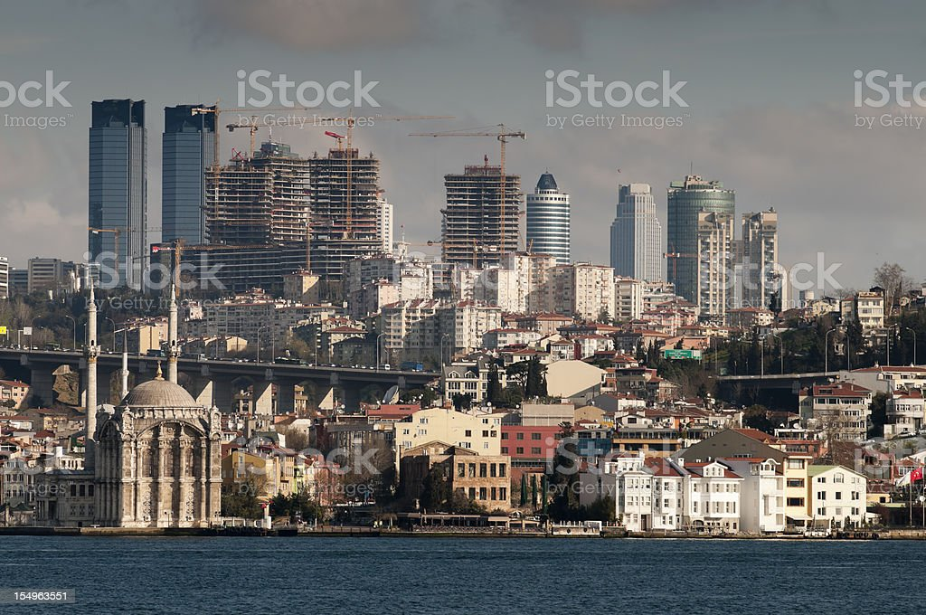 Modern skyline of Istanbul as seen from the Bosphorus, Turkey royalty-free stock photo