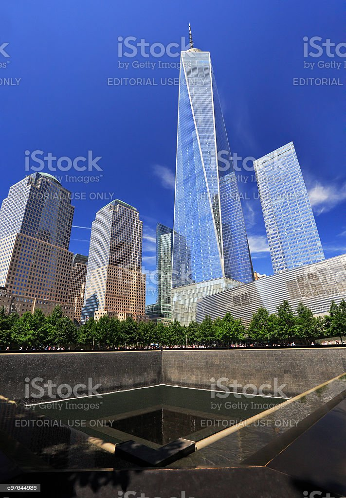 Modern skyline of Lower Manhattan, New York City stock photo