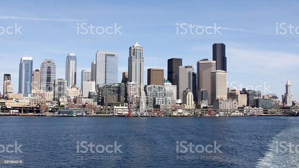 Modern Skyline Of Seattle Washington stock photo