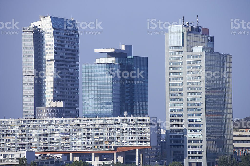 modern skyline with glass architecture and skyscrapers royalty-free stock photo
