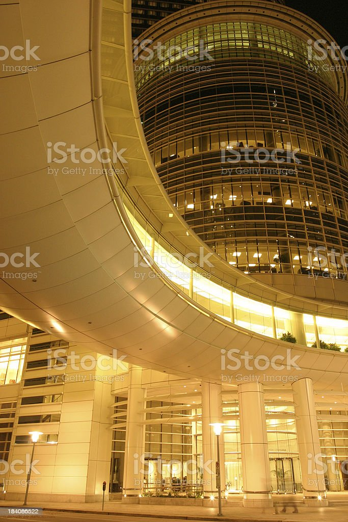 Modern skyscraper at night royalty-free stock photo