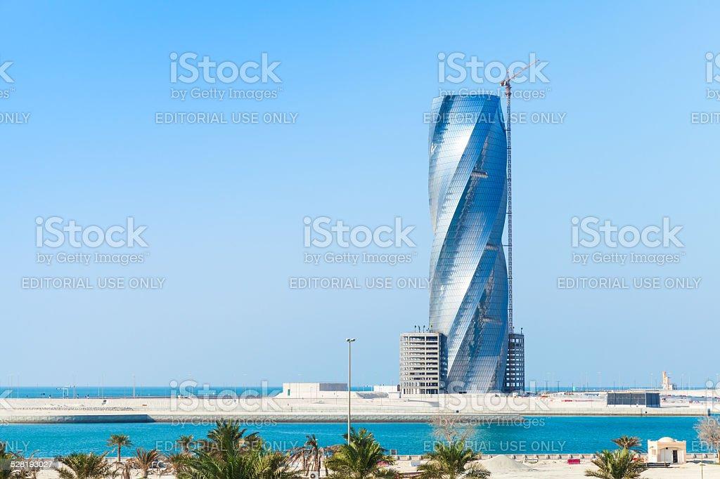 Modern skyscraper building under construction in Manama stock photo