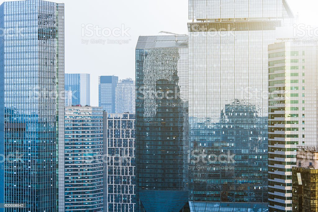 modern skyscrapers against sky stock photo