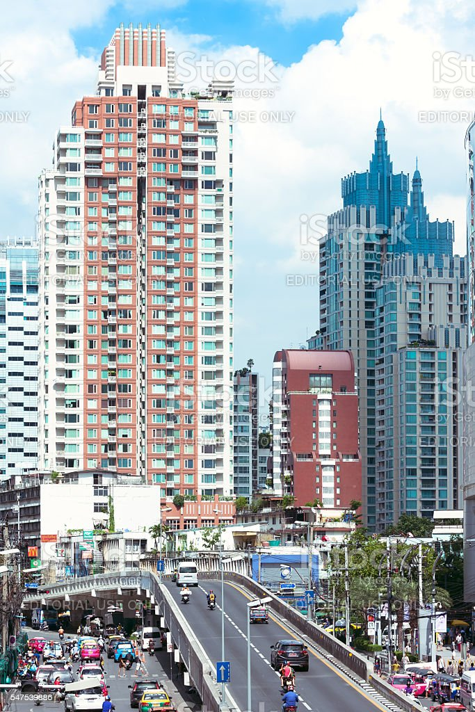Modern skyscrapers and traffic on Phetchaburi Rd. stock photo