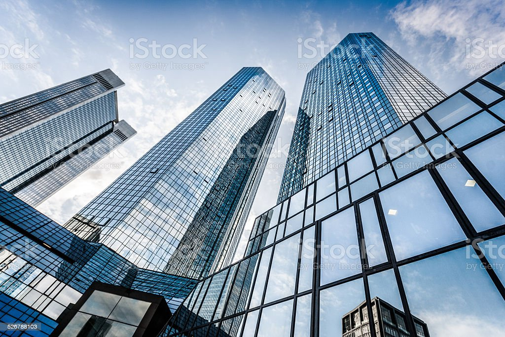 Modern skyscrapers in business district stock photo