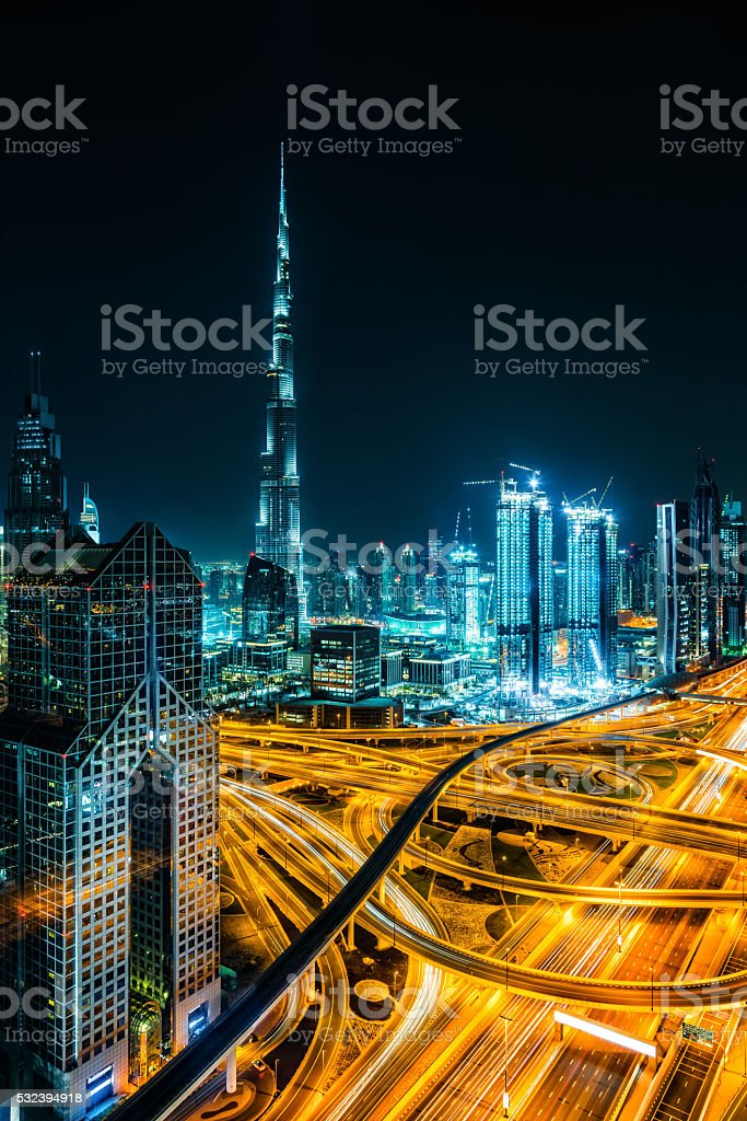 Modern skyscrapers in Downtown Dubai, Dubai, United Arab Emirate stock photo