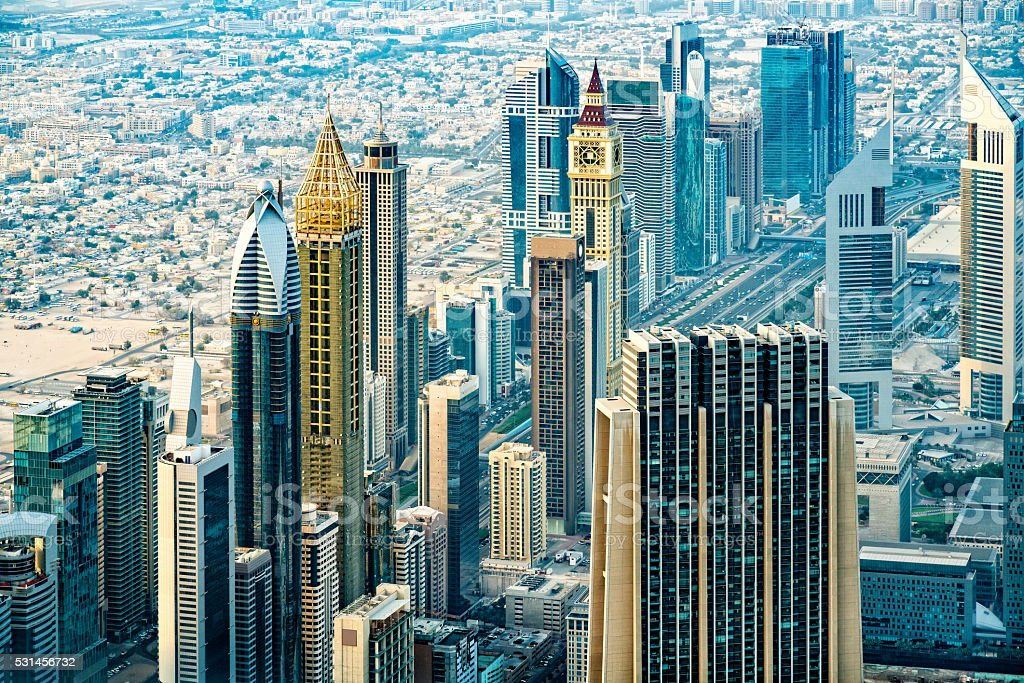 Modern skyscrapers in Downtown Dubai, United Arab Emirates stock photo