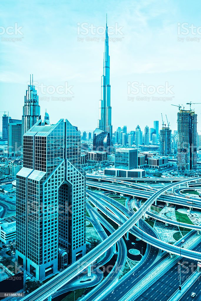 Modern skyscrapers in Downtown Dubai, United Arab Emirates stock photo