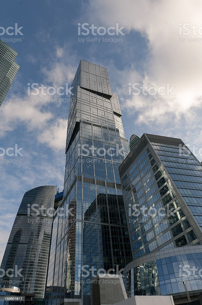Modern skyscrapers in financial district royalty-free stock photo
