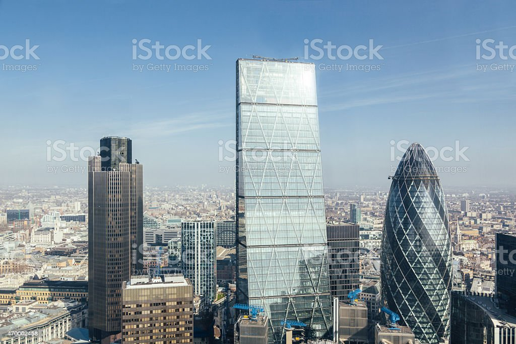 Modern skyscrapers in London city, aerial view stock photo