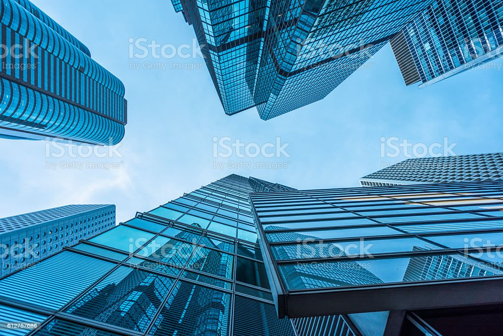 modern skyscrapers of Hong Kong against blue sky stock photo