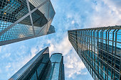 modern skyscrapers of Hong Kong on sky