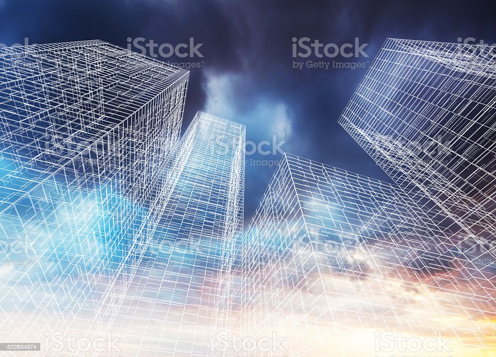 Modern skyscrapers perspective. Wireframe 3d stock photo