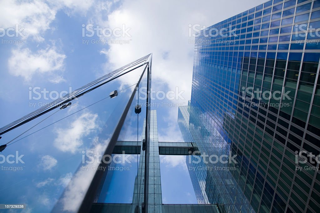 Modern skyscrapers viewed from below stock photo