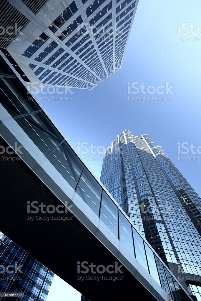 Modern Skyscrapers with Skybridge royalty-free stock photo