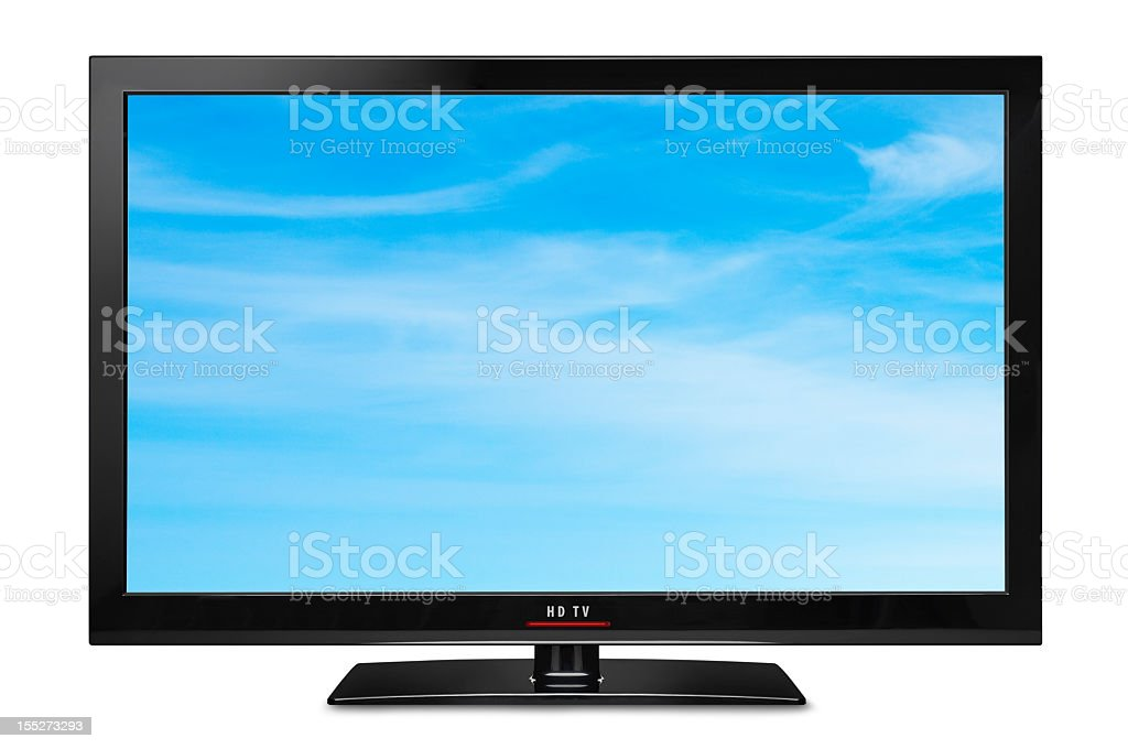 Modern slim LCD HDTV stock photo