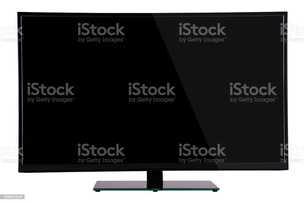 modern slim plasma TV on black glass stock photo