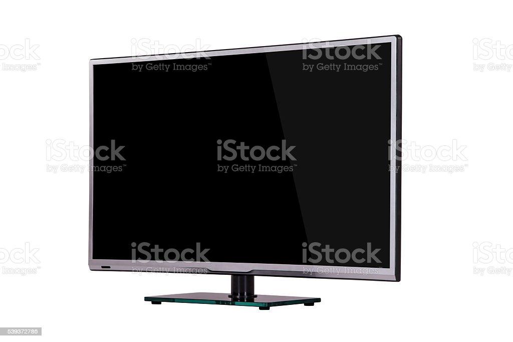 modern slim plasma TV on black glass stock photo