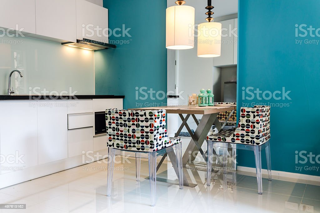 Modern small kitchen interior. stock photo