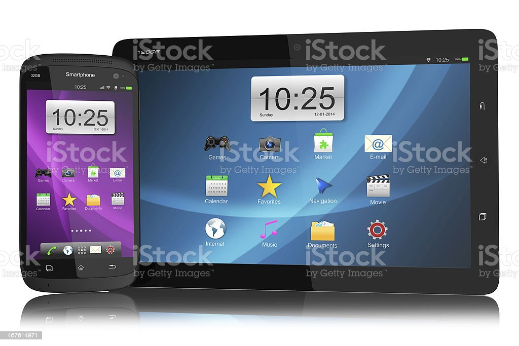 Modern smartphone and tablet PC stock photo