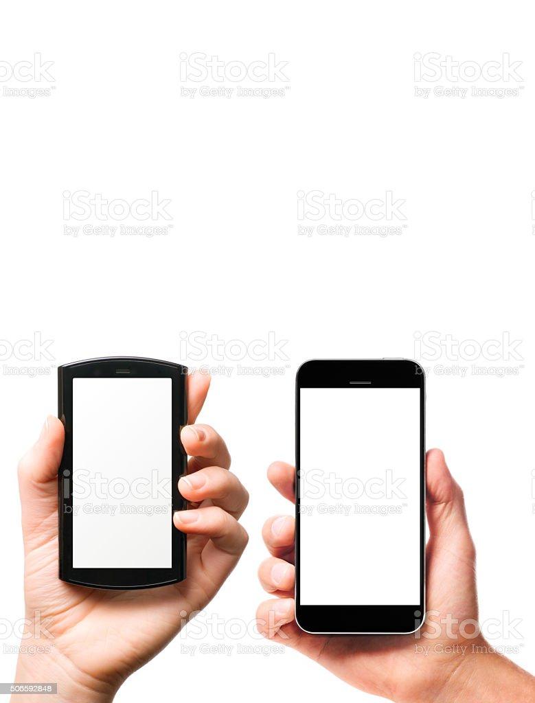modern smartphones in hands stock photo