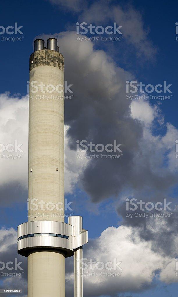 Modern smokestack stock photo