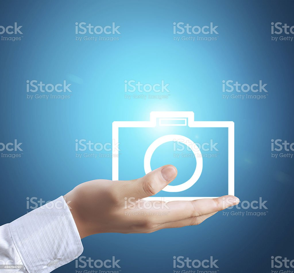 modern social buttons in  hand stock photo