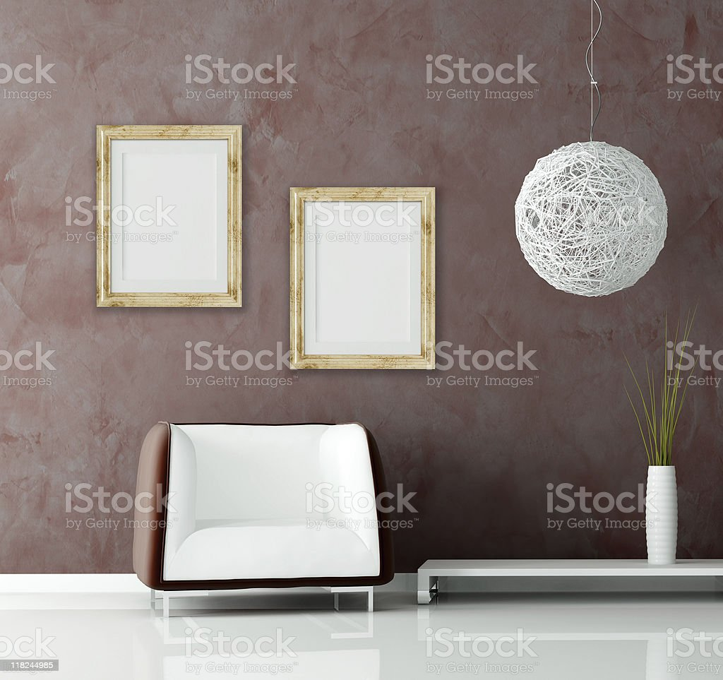 modern sofa and contemporary chandelier royalty-free stock photo