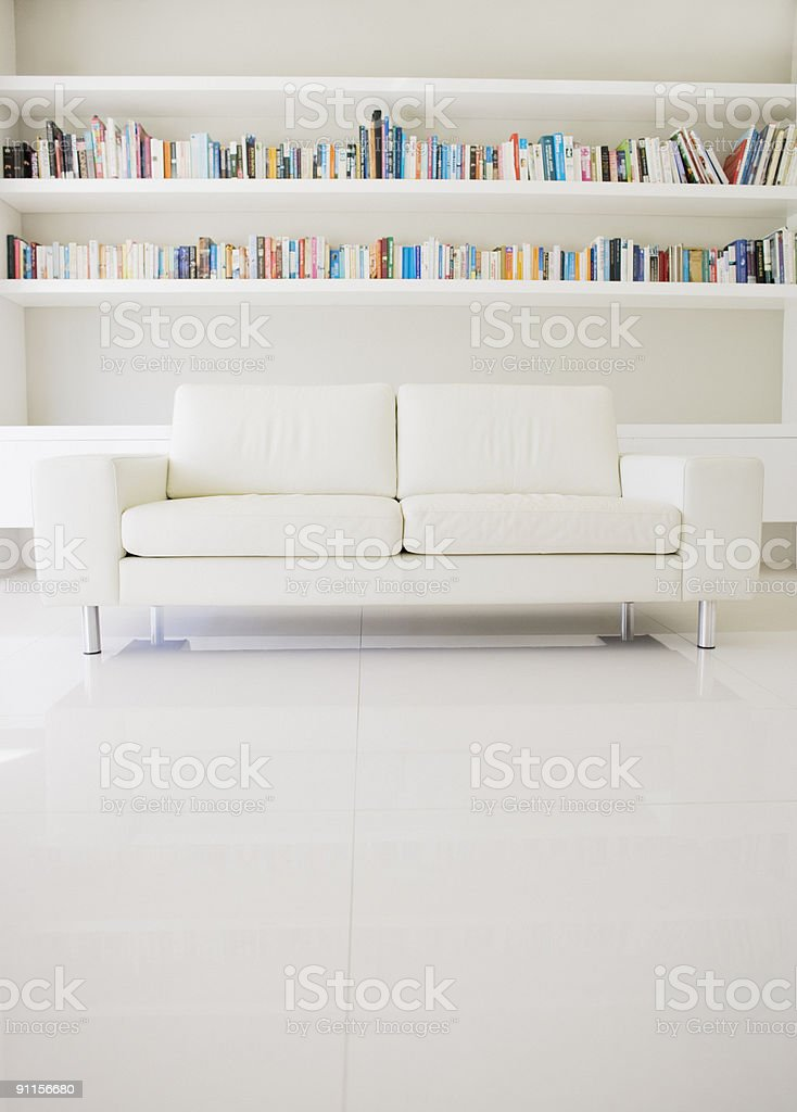 Modern sofa and shelves in living room stock photo