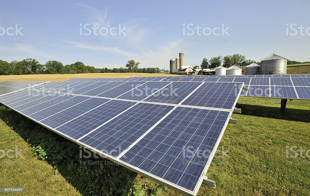 Modern, solar panel array in sun-filled, green farm pasture stock photo