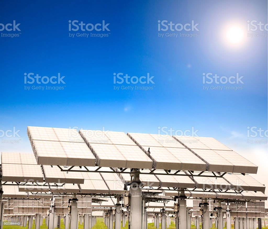 modern solar panel with sun tracking system stock photo