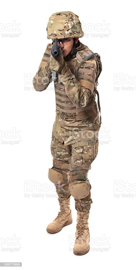 Modern soldier with rifle royalty-free stock photo