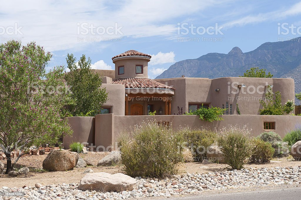 Modern Southwest Adobe House, Santa Fe stock photo