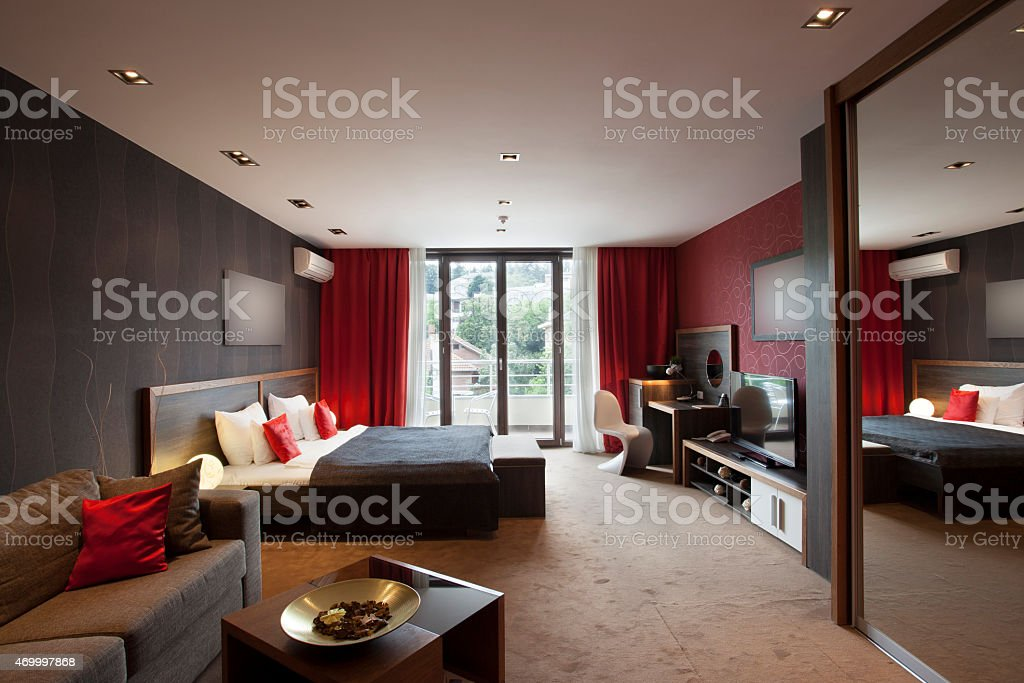 Modern spacious hotel room stock photo
