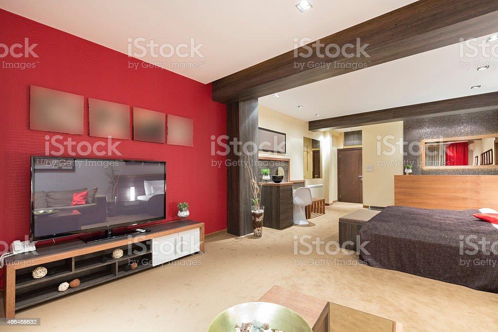 Modern spacious living room stock photo