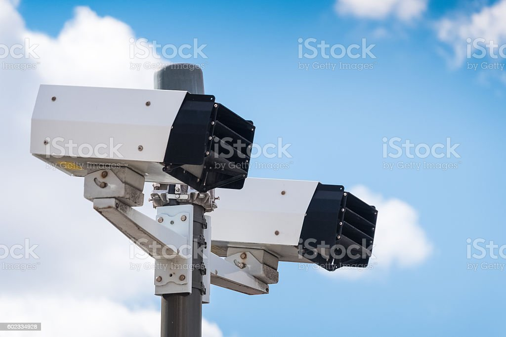 Modern speed camera stock photo