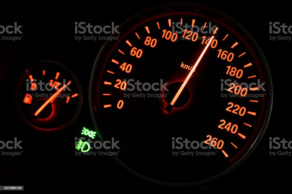 Modern speedometer in a car stock photo