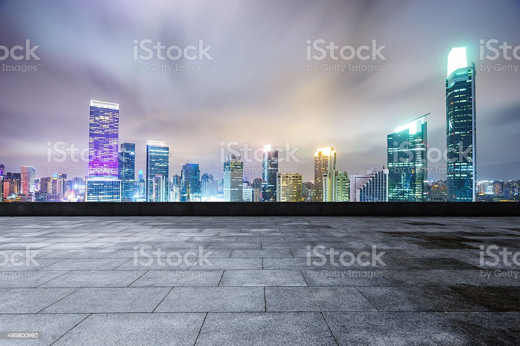 modern square and skyscrapers stock photo