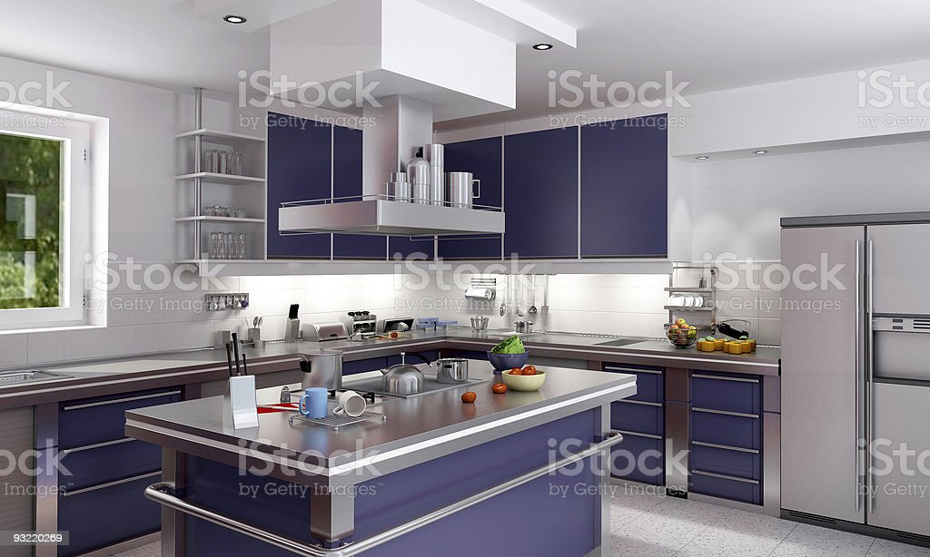 Modern stainless steel and cobalt blue dream kitchen  royalty-free stock photo