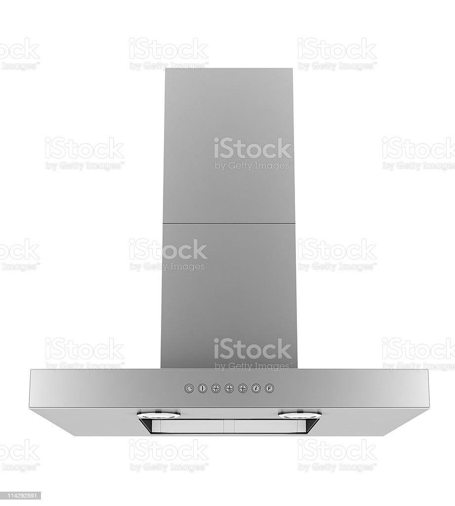 Modern stainless steel ventilation hood on white background stock photo