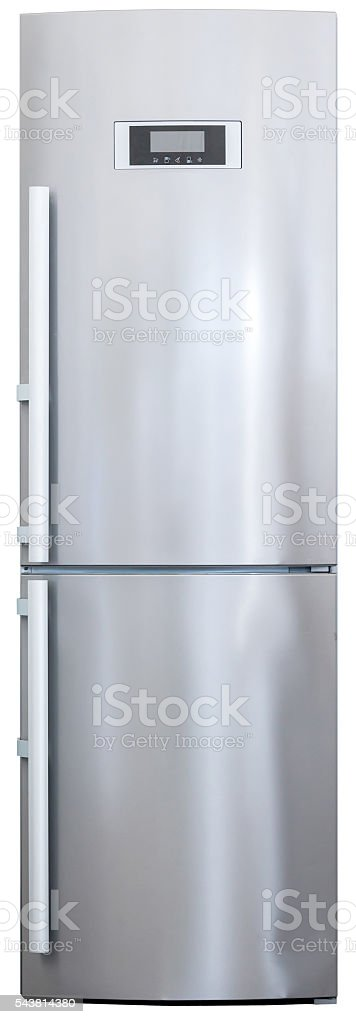 modern stainless-steel refrigerator front view stock photo