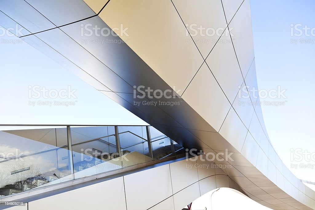 Modern staircase against blue sky stock photo