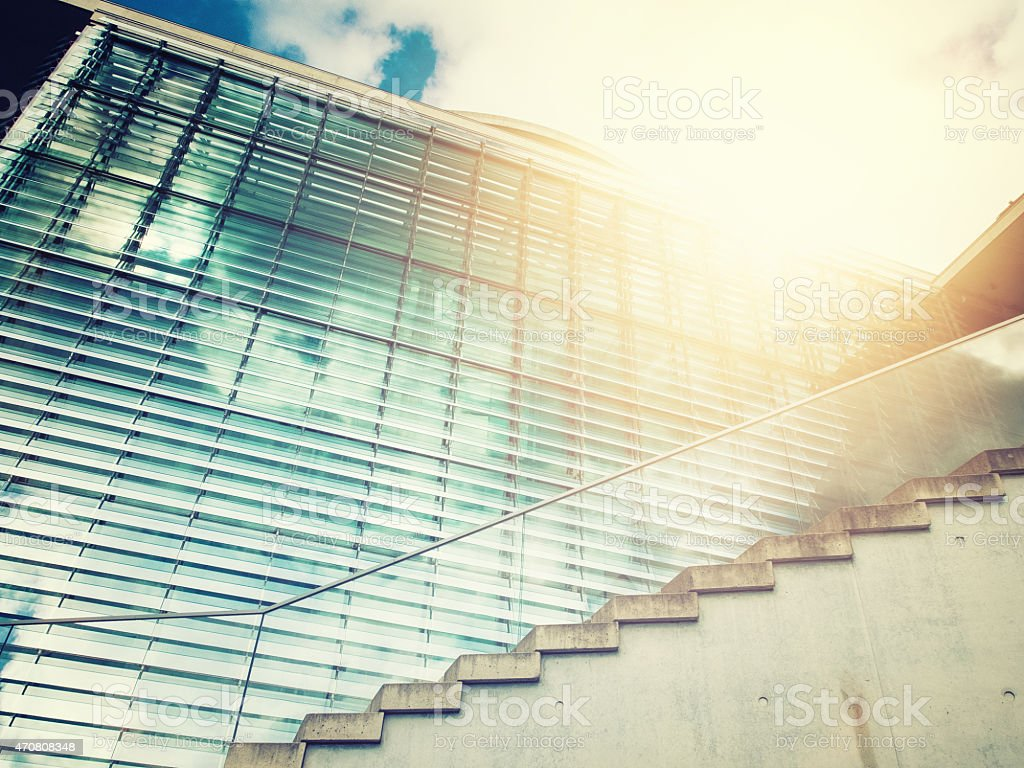 modern staircase with glass stock photo