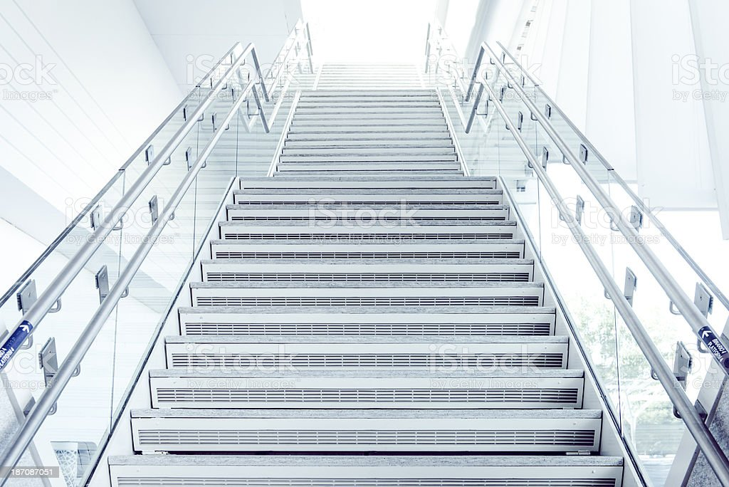 Modern Stairway to White Light stock photo