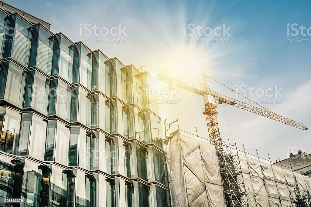 modern steel and glass architecture under construction stock photo
