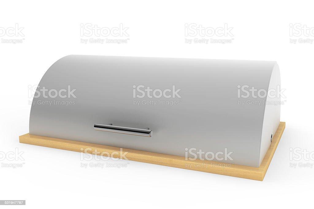 Modern steel bread bin stock photo