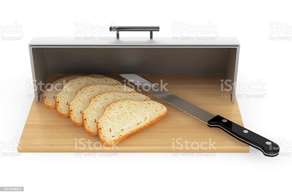 Modern steel bread bin with pieces of bread and knife stock photo