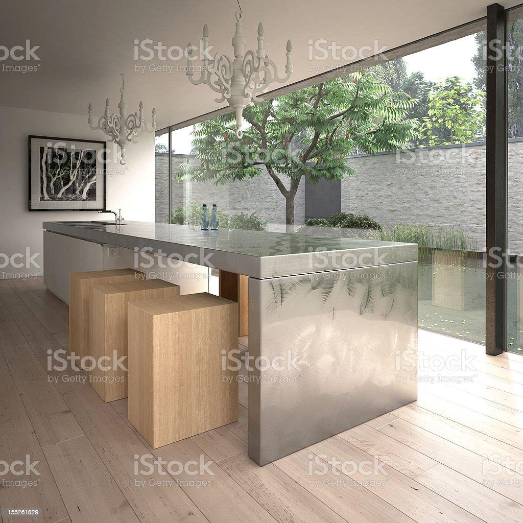 Modern steel kitchen island stock photo